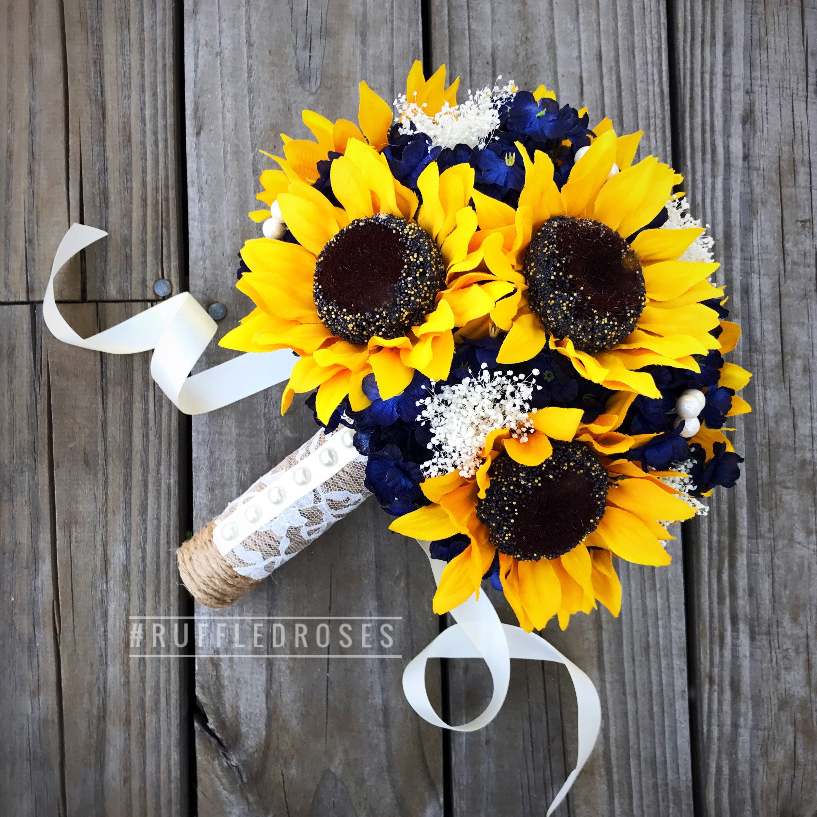 Sunflower Wedding Bouquet Ideas: Navy Sunflower Bouquet Navy Blue Bouquet Sunflower Bouquet