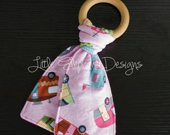 Infant Teething Toy, wooden ring and fabric teether, stocking stuffer, pink campers, baby girl - perfect for any baby girl