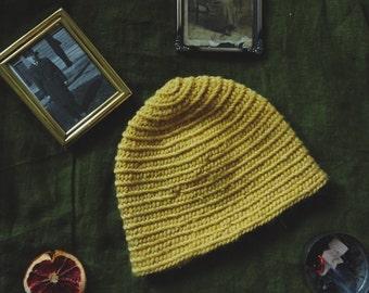 Viking Yellow Mustard Hat / Nalbinding Crochet Knit / Pure Nordic Wool / Handmade Pagan Reenactment Hiking Bushcraft