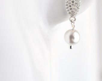 Classic pearl bridal earrings, traditional bride, pearl earrings, Swarovski pearl bridal jewelry, sterling silver, classic wedding, for her