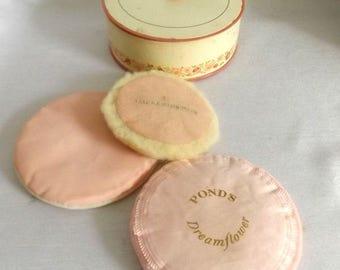 Three Vintage Pink Powder Puffs in an Avon To a WIld Rose Powder Tin - Dusting Powder Vanity Jar - Ponds, Helena Rubenstein Pink Puff