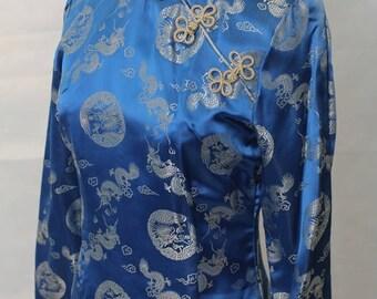 Vintage Long Sleeved Dragon Print Blue Cheongsam Dress