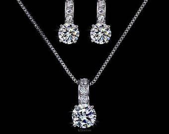 CZ Bridal Jewelry Set - Wedding Jewelry Set - Bridal Drop Necklace - Delicate Bridal Necklace - Bridesmaid Jewelry Set - Crystal Set -AS0020