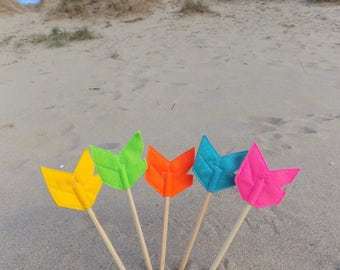 Set of Five Felt Arrow FLYFAR Pencil Toppers, Vegan