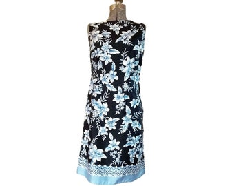 Vintage 1990s Liz Claiborne Sleeveless Blue & White Floral Silk Dress (4)