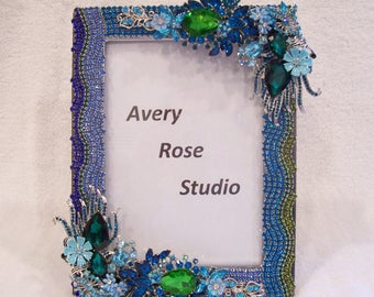 Jeweled Photo Frame. Great Gift Idea: Mother's Day, Birthday, Wedding, Anniversary, Holiday Graduation.