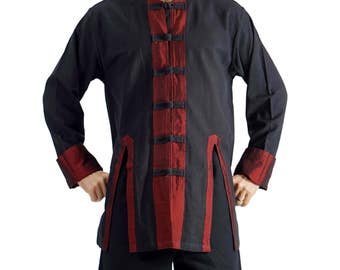 PIRATE SILK LS Black and Red - Renaissance Shirt, Medieval Clothing, Steampunk Shirt, Mens Pirate Costume, Pirate Coat, viking, Zootzu
