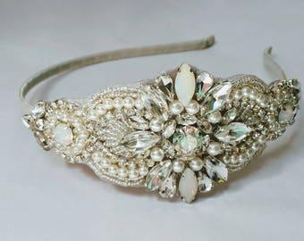 Silver Moonstone Beaded Bridal Headband; Opal Bridal Headpiece; Wedding Headpiece; Moonstone Bridal Headpiece; Opal Bridal Headband
