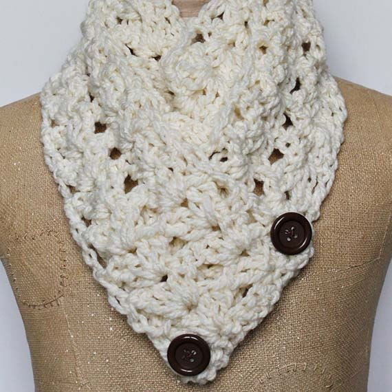 "PDF Crochet Pattern ~The ""Victoria"" Button Winter Scarf Pattern"