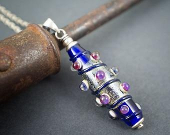 artisan lampwork pendant • sterling silver glass pendant • silver chain necklace • lapis blue • purple bubbles • silver foil pendant