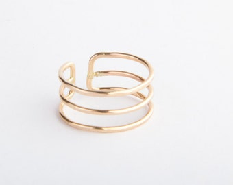 Triple Stack Adjustable Gold Ring, Three Barrel Ring, Gold Filled or Sterling Silver