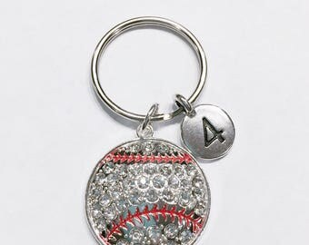 Baseball Keychain, Number Keychain, Sports Number Keychain, Player Athlete Mom Gift Keychain