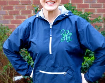 Monogrammed Charles River Lined Pullover/ LADIES/ Windbreaker/ ALL Sizes up to 3X-----CLOSEOUT