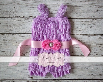 Lavender Romper & Sash, Lace Ruffle Rompers, Baby 1st Birthday Outfit, Cake Smash Outfit, Baby Toddler Girls Romper, Lace Romper, 3Mo - 8Yr