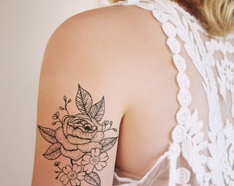 Floral temporary tattoo / rose temporary tattoo / rose tattoo / flower tattoo / boho tattoo / boho temporary tattoo / boho gift / festival