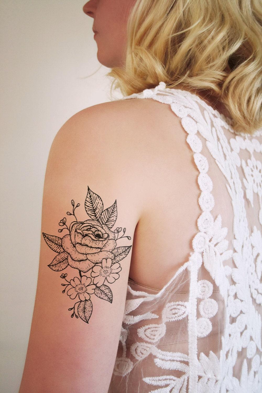 Floral temporary tattoo rose temporary tattoo rose tattoo for Rose henna tattoo