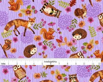 Purple Woodland Animal Fabric, Enchanted Forest Studio E 3832 50 Character Allover Lilac, Fox, Bunny, Hedgehog, Raccoon, Squirrel, Cotton