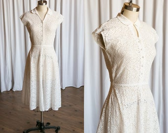 Better Place dress | vintage 40s dress | white cotton lace 1940s dress | white lace 40s day dress | L'Aiglon | vintage white 1940s dress
