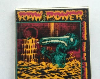 Raw Power Original 1980s Vintage Dead Stock Square Pin