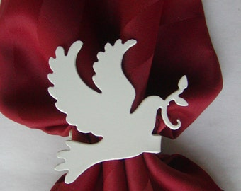 Set of 4 Dove of Peace Religious Sunday Easter Metal Napkin Rings