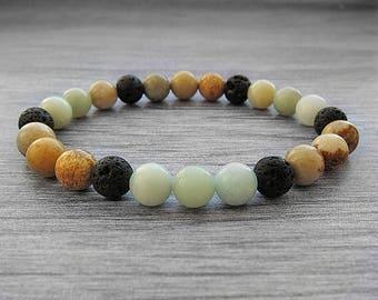 Women bracelet Yoga bracelet Diffuser bracelet Gemstone bracelet Boho bracelet Beaded bracelet Diffuser oil Amazonite bracelet