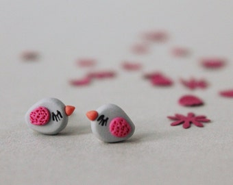 Bird Stud Earrings - Fimo Bird Earrings - Fimo Jewelry - Bird Earrings - Bird Jewellery - Handmade Earrings - Polymer Clay Jewelry