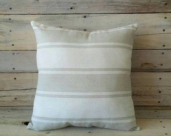 White and Tan Strip Pillow, Farmhouse Decor, Farmhouse Pillow, Decorative Pillow, Accent Pillow, Throw Pilloe