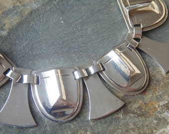 Fred Davis ~ Signed Vintage Mexican Sterling Silver Tribal Link Bracelet - c. 1930's