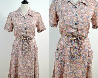 1960s Nancy Frocks Shirt Dress / 60s Vintage Shift Dress / Pink Purple Floral Dress / Medium M Large L / Cotton Dress /