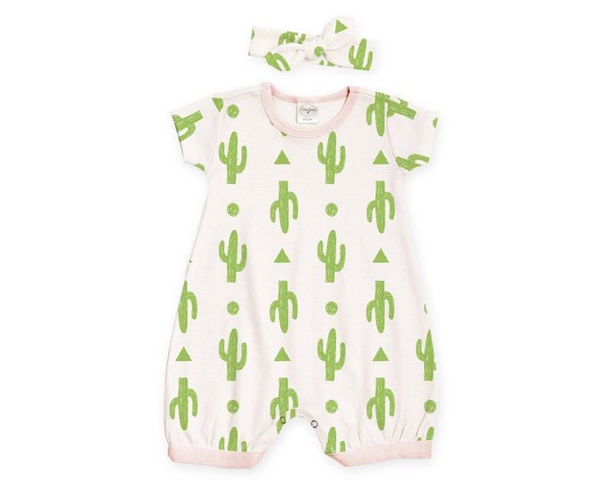 Newborn Girl Outfit, Baby Girl Outfit, Baby Girl Romper, Baby Cactus Outfit, Baby Cactus Romper, Cactus Nursery, Baby Headband, TesaBabe