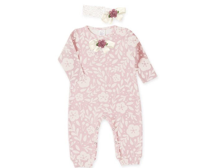 Baby Girl Pink Rose Outfit, Baby Girl Pink Floral Romper Tesa Babe RH81PIP59LCIY