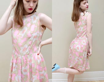 60s Pink Floral Accordion Pleats Day Dress // S M