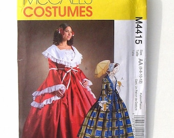 Misses McCall's Southern Belle Costume Sewing Pattern #M4415 - UNCUT - Size 6+8+10+12