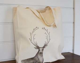 Stag Tote Bag, Calico Shopping Bag Art Tote Cotton Tote, Stag tote bag, Stag Shopping bag Illustrated  bag, eco bag Graphic Tote