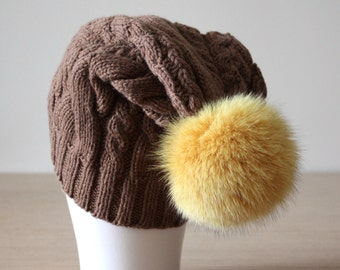 Fur pom pom hat, Slouch hat, Fur bobble hat, Cashmere and wool, Cabled knit, Large pom pom hat, Yellow Brown