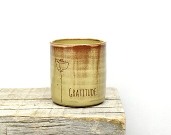 Gratitude. Sweet handmade tumbler or bud vase. Love gift. Valentine gift. Thank you gift. Custom Pottery. IN STOCK