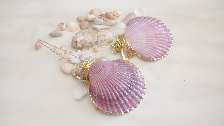 Seashell hair pins sea shell clip purple and pink bobby pin for Seashells for hair