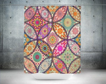 Boho Chic Shower Curtain  Crazy Mandala Retro  Groovy Optional Bath Mat