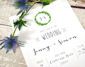 Initials Wedding Invitation Set | Invite + RSVP | Sample set