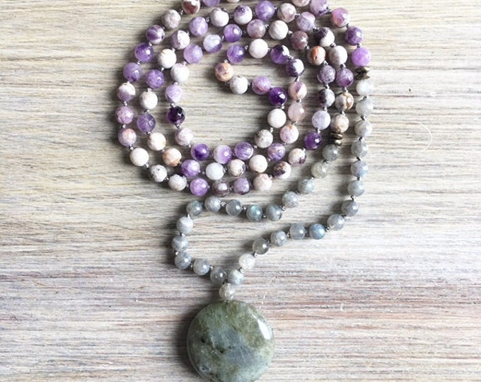 Labradorite Sage Amethyst Mala Beads, 108 Mala, Gemstone, Handmade, Hand-knotted, Meditation, Yoga, Prayer Beads, Chakra, Healing