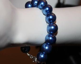 Blue Pearl Bracelet, Blue Pearl Jewelry, Blue Beaded Bracelet, Blue Beaded Jewelry, Blue Jewelry with Pearls, Blue Bracelet with Pearl, Blue