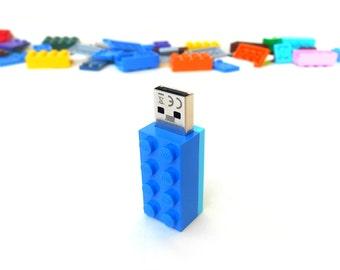 Lego usb flash drive 16GB USB - Memory Stick -  Lego® original usb Brick - Lego® 2x4 Brick - Lego® usb Blue Turquoise - Duo Color bricks usb