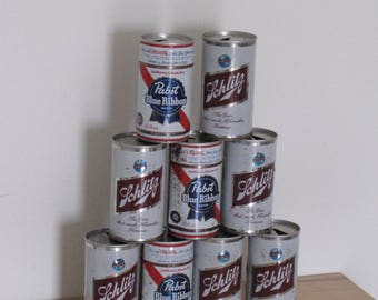 Vintage Beer Cans - 9 cans - Schlitz and Pabst Blue Ribbon