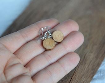 Earthy rustic wooden earrings, natural spalted wood dangle earrings, reclaimed wood jewelry, simple ethnic earrings by My Piece of Wood