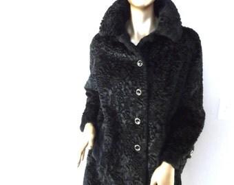 vintage 1960's Black Faux Persian Lamb Coat* Size 9/10 . ITEM HOUSE . Elegant . Classic . Warm . Dressy . BEAUTIFUL!