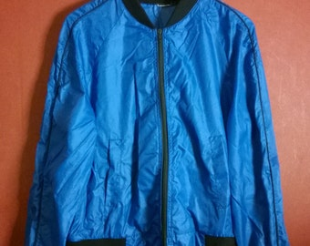 Vintage  Windbreaker Nylon  Jacket  NYLON WINDBREAKER VINTAGE  WindBreaker Nylon Blue Zip  Up M medium