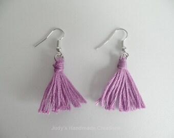 Purple Cotton Tread Tassel Earrings, Women Tassel Earrings. Popular Earrings
