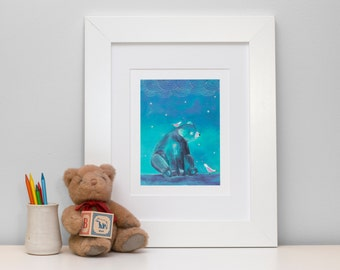 1st birthday gift. Bear nursery art. Bear art print. Art prints for kids. Boy nursery wall art. Nursery prints girl. Bear nursery decor