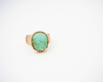 Mint Green and Gold Druzy Statement Ring