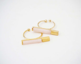 Pale Pink and Gold Bar Statement Ring